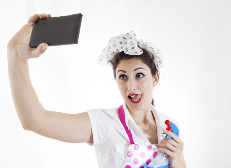 charlady: pretty housewife take selfie in a break Stock Photo