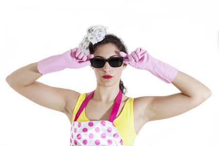 charlady: portrait of pretty housewife with sunglasses