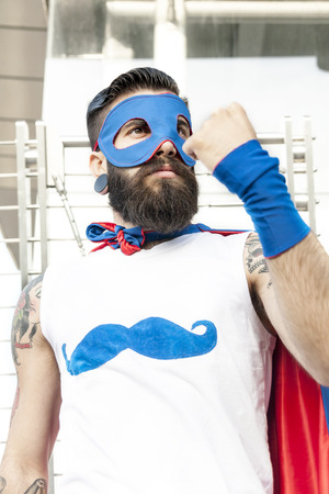 youth crime: young hipster superhero fights evil