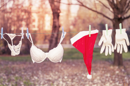 dry suit: santa claus suit hung out to dry mixed with lingerie warm look colored