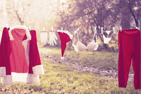 sunshine: santa claus suit hung out to dry mixed with lingerie warm look colored