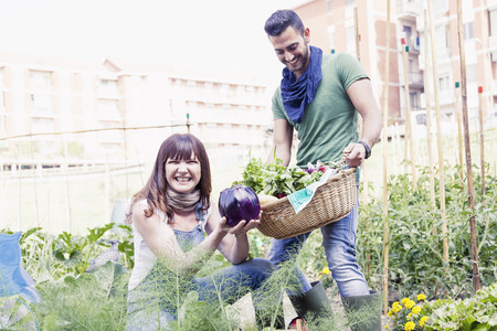 beautiful garden: young couple of gardeners collects fresh vegetables Stock Photo