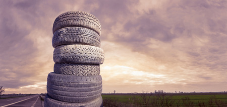 piled: tires piled Stock Photo
