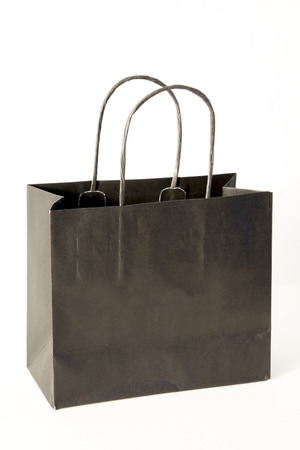 vanity bag: paper shopping bag isolated on white Stock Photo