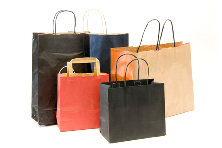 vanity bag: paper shopping bags isolated on white