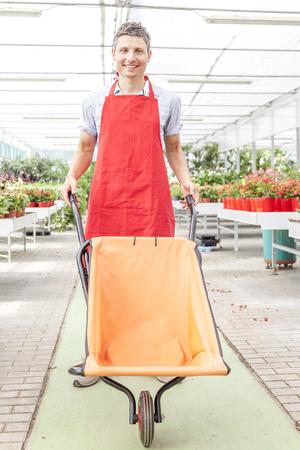 flower seller: flower seller pushes a wheelbarrow in a greenhouse Stock Photo