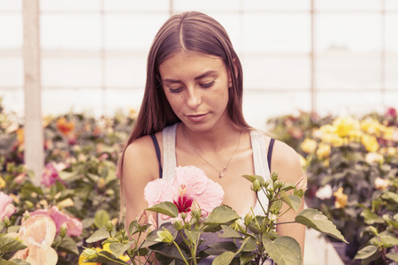 flower seller: young flower seller takes care of her beautiful flowers on a vintage warm color filtered look