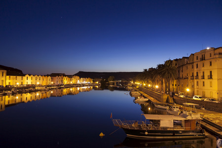 night vision: night vision village of Bosa in Sardinia from the bridge
