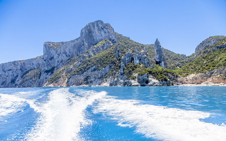 panorama of Aguglia pinnacle in the gulf of Orosei Sardinia Italy Stock Photo