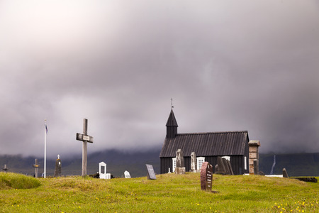 the famous black church of Budir in Iceland. it is the only black church in the whole island Stock Photo
