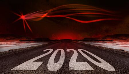 2020 New Year celebration on the asphalt road with a modern comet star on a red sky as a background. New Year arrival concept Imagens