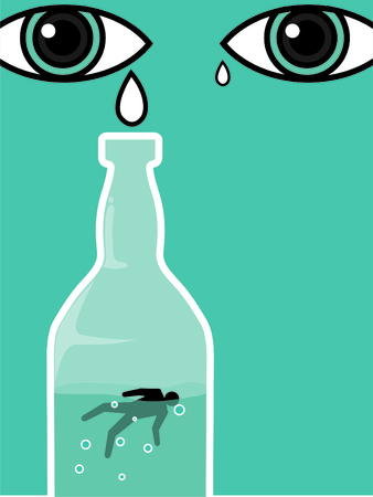 tear drops for alcohol drinker die in the bottle blue Stock Illustratie