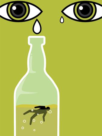 tear drops for alcohol drinker die in the bottle green Illustration