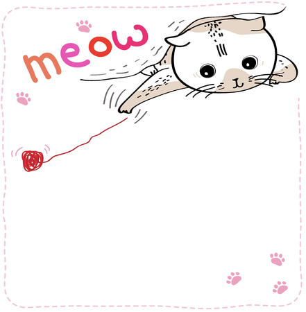 Vector illustration of cat reaching for yarn on white background. expression card with space for your own words Illustration