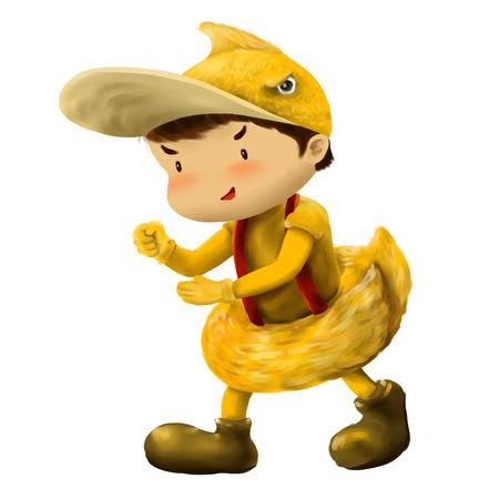 Illustration of kid in animal costume, kid in duck costume 스톡 콘텐츠
