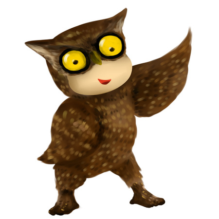 Illustration of kid in animal costume, kid in owl costume 스톡 콘텐츠