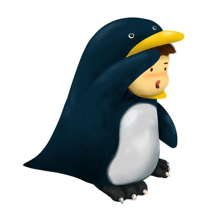 Illustration of kid in animal costume, kid in penguin costume