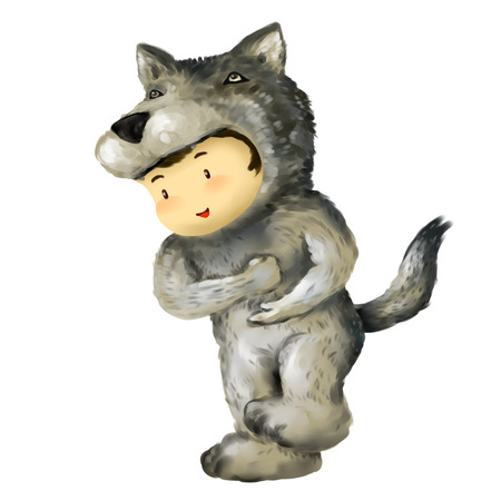 Illustration of kid in animal costume, kid in wolf costume