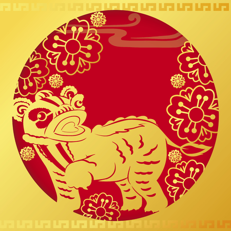 llustration of Golden Chinese dragon in red and gold circle frame with cherry blossom in the background vector and illustration design