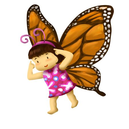 Illustration of kid in animal costume, kid in butterfly costume