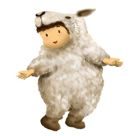 Illustration of kid in animal costume, kid in sheep costume