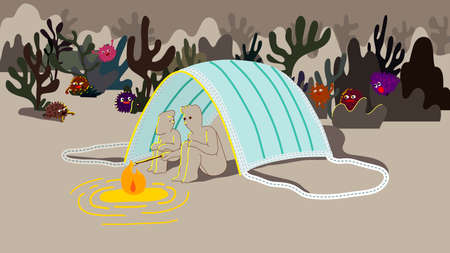 Couple stay under face mask tent having camp fire, night out social distancing and virus characters creep in from the dark surroundings