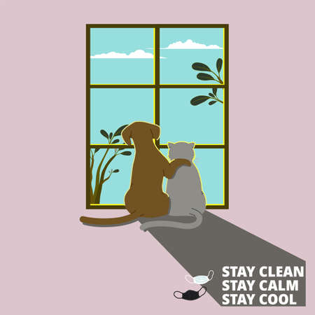 Dog hugging cat by the window looking out to the sky while staying home. Social distancing cheer up concept Vetores