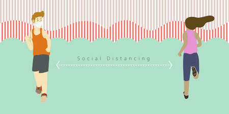 Man and woman go jogging and keep at the same time keeping distance from each other to follow social distancing rules in order to prevent virus spreading. Flat design vector.