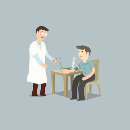 Elderly man sitting in hospital having blood pressure checkup by male doctor. Vector illustration for senior healthcare.  イラスト・ベクター素材
