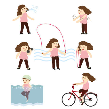 Elderly woman exercise with various equiptment and position, vector illustration