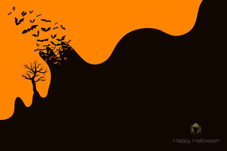 Halloween poster background, silhouette flock of bats flying out of negative space. Vector illustration