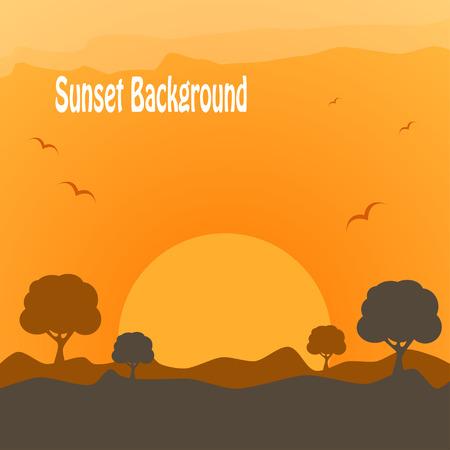 yellow adventure: Desert sunset Illustration
