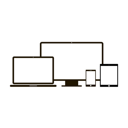 Electronic device icons. 4 device icons in white background Illustration