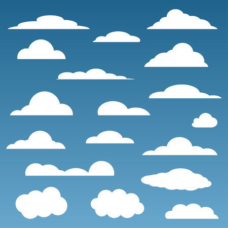 clouds blue sky: clouds set isolated in blue sky Illustration
