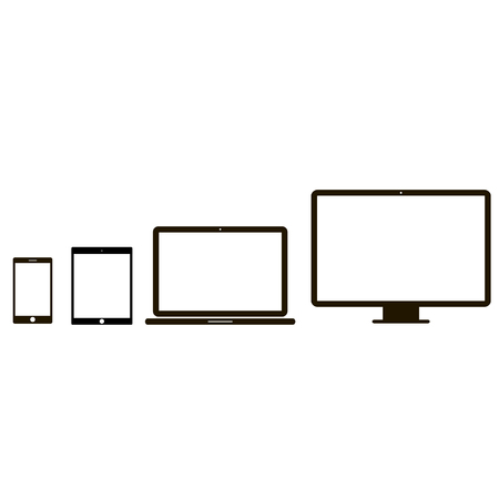 Electronic device icons. 4 device icons in white background Çizim