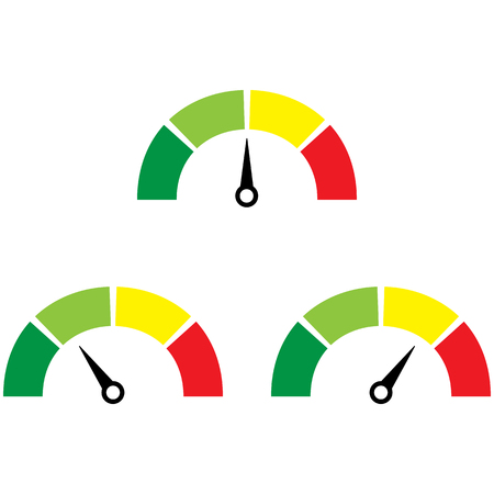 mile: Speedometer or rating meter signs infographic gauge element. Vector illustration