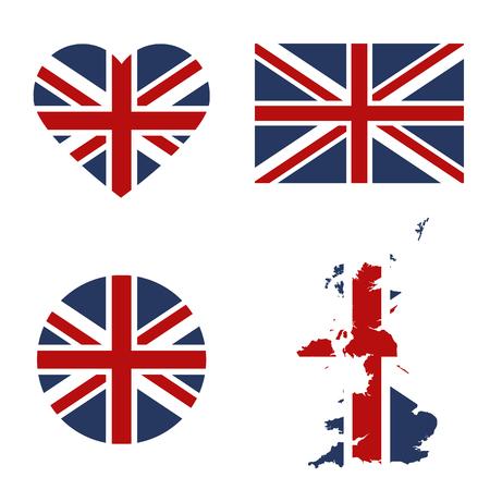 Symbols United Kingdon framed in different forms of the flag background Иллюстрация
