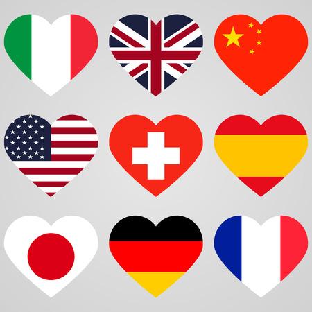heart flags set Stock Illustratie