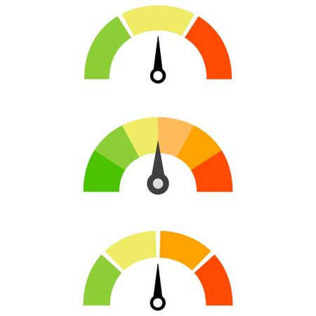 Isolated illustration of set of colorful credit score. Illustration