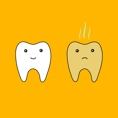 tooth good and bad isolated on orange backdrop