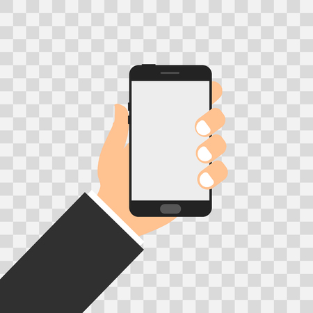 using smart phone: Phone in hand vector illustration