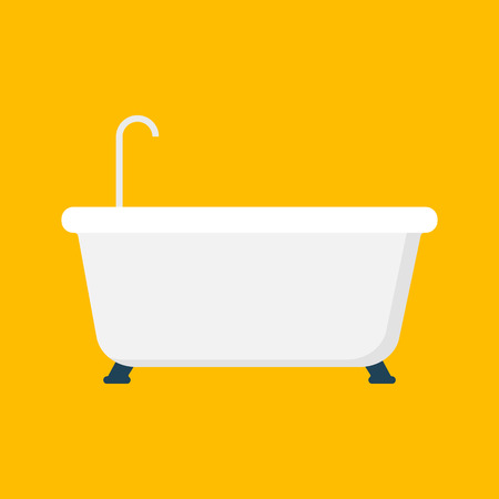 cleanliness: A bathtub illustration on yellow background. Illustration