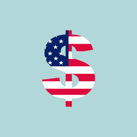 Dollar sign american flag style. Business concept