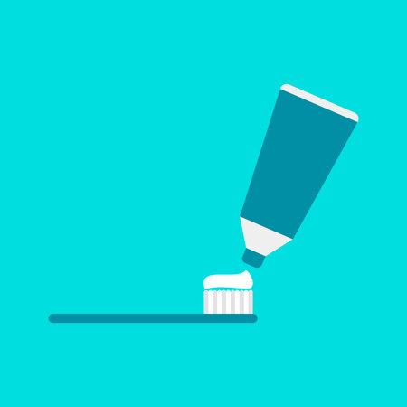 Toothpaste on blue background. Vector illustration. Healthcare