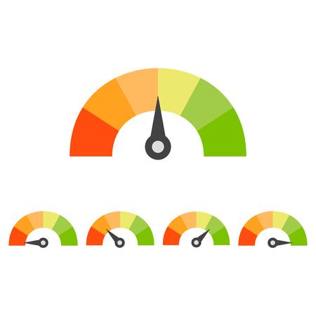 Rating snelheidsmeter set. Vector Illustratie