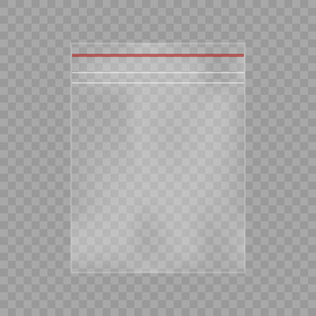 Realistic plastic bag packet on chess background Çizim