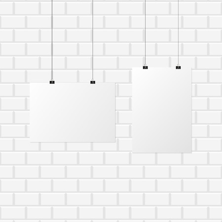 Poster banner white color isolated on background