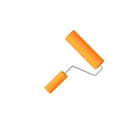 Paint roller with brush line. vector illustration.