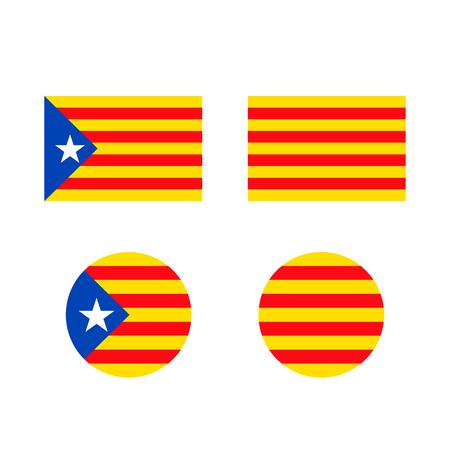 Signo de bandera de Cataluña icono de fondo. Ilustración vectorial
