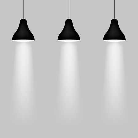 Realistic pendant lamps isolated on back. Vector